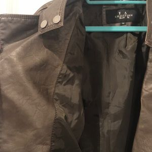 LA Coalition m Jackets & Coats - Medium dark brown leather biker jacket.